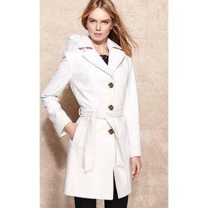 MICHAEL Michael Kors Hooded Belted Wool Blend Coat